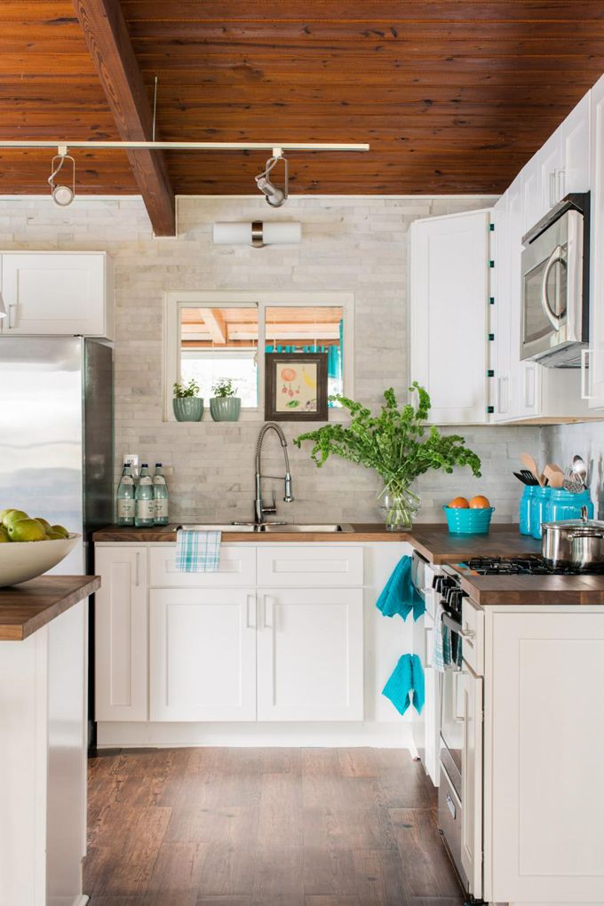 kitchen with turquoise accents | HGTV Spring House 2016