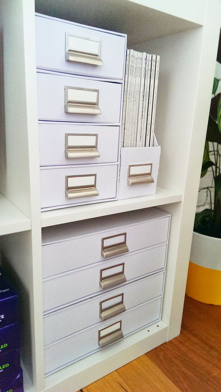 4 High Vertical Storage Drawers White + Magazine File White + 2 High Landscape A4 Document Drawers