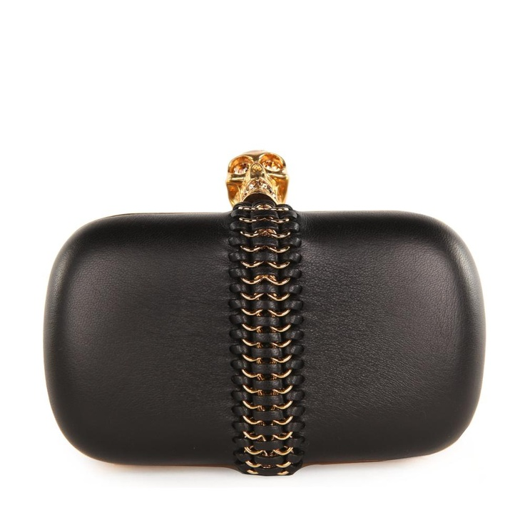Alexander McQueen Classic Skull, Leather  Chain Weaved Black Box Clutch