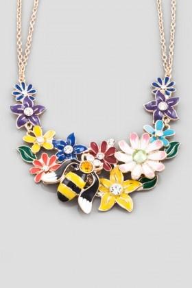 Essera   Altın Rengi Çiçek ve Arı Kolye