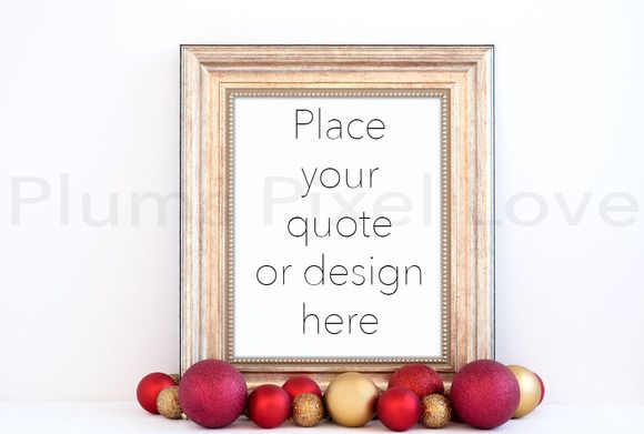 Christmas styled gold frame mockup by Plums Pixel Love on @creativemarket
