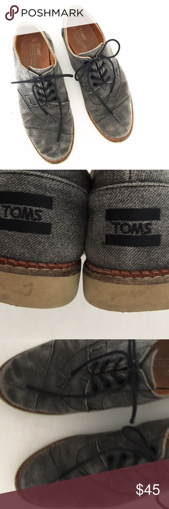 Men's TOMS Brouge Gray-Black Lace Up Shoes Gently pre-loved with no rips or stains. Please see all pictures for an accurate description of condition. Sz 8. *0505170225* TOMS Shoes Oxfords & Derbys