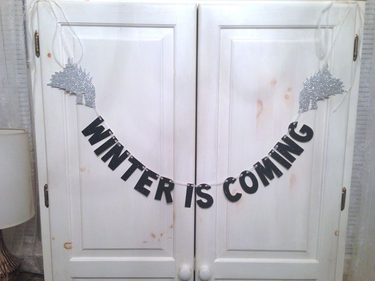 Winter Is Coming Banner -- Game of Thrones Glitter Banner / Photo Prop / House Stark by hawthorneave on Etsy https://www.etsy.com/listing/201979640/winter-is-coming-banner-game-of-thrones