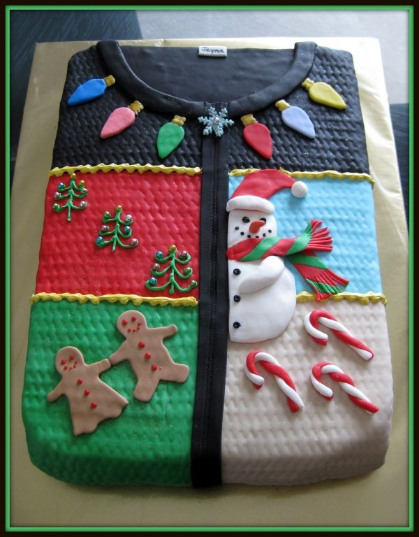 Ugly Christmas Sweater cake.----- ugly sweater party cake @Rebecca Yates