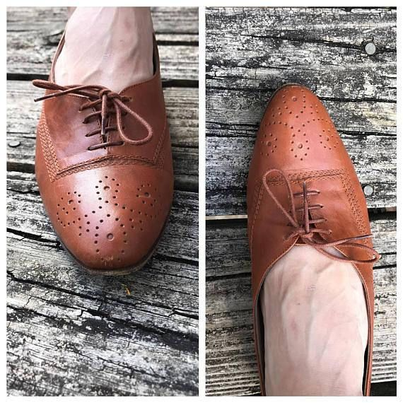 vintage brown tan oxford shoes lace up cut out hipster size 9
