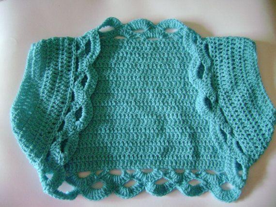 Blue crochet bolero shrug.