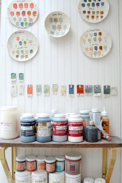 """make glaze """"plates for each table to show colors when fired- next summer's project"""