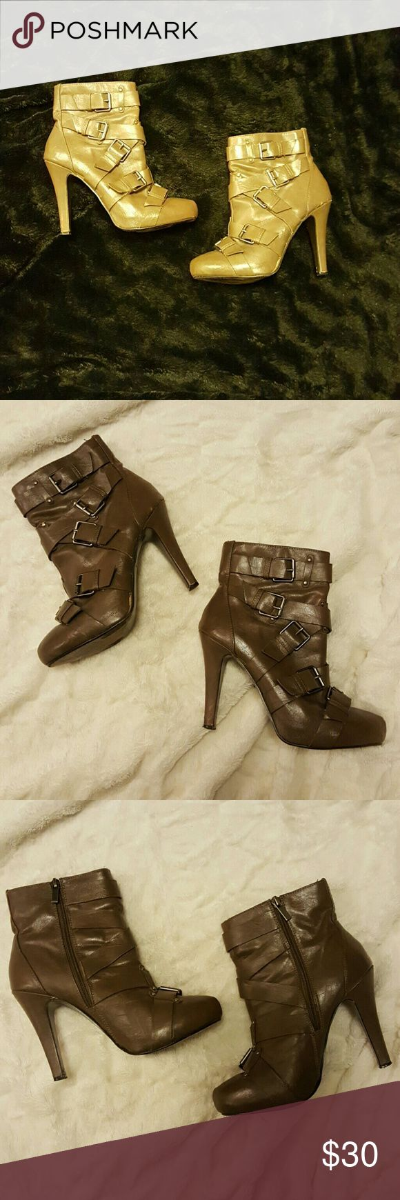 "FINAL SALE 📣🔖Sexy Bootie w Buckles 😘 Super fly Taupe boots with Buckles! 💋Gently Used,  Aprox. a 4"" heel. 💖 Anne Michelle Shoes Ankle Boots & Booties"