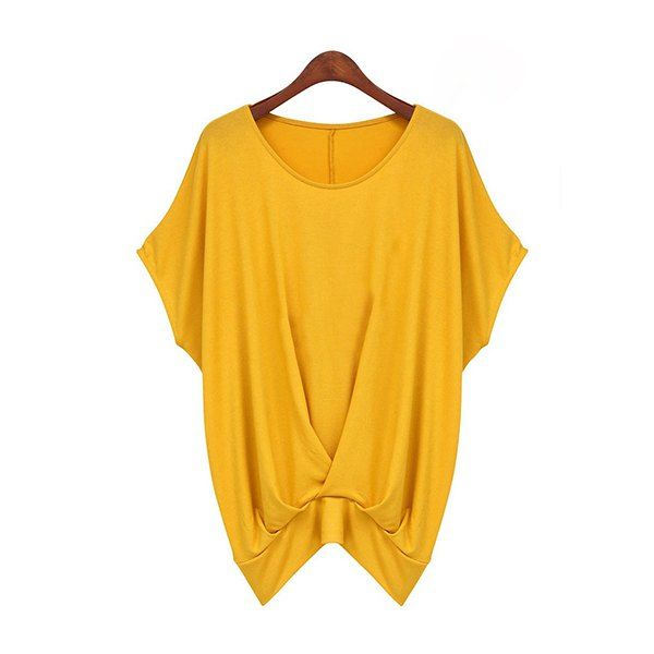 Loose-Fitting Plicated Hem Design Solid Color Batwing Sleeve Casual T-Shirt For Women