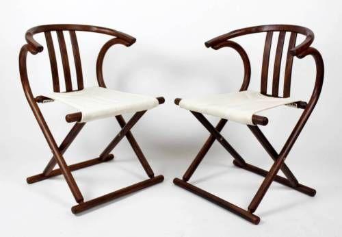 1 del 2 ART DECO metà del secolo moderno thonet legno curvato CAMP Style sedie pieghevoli in Antiques, Antique Furniture, Chairs | eBay