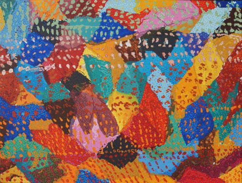 """#finearts,""""1984 / 2014 - geometrical composition with additional drawed dots"""", 05. - 09. 2014, #pixelism - ca. 120.000 painted pixels, acrylic on canvas, 80 x 60 cm, ■ = 2 x 2 mm, (31.50"""" x 23.62"""", ■ = 0.08"""" x 0.08""""), painting time: 431 hours."""