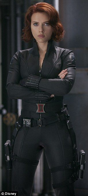Not-so-sexualized: Unlike Scarlett Johansson's version of Black Widow (pictured), Karlie doesn't wear a bodysuit that makes her figure the focus
