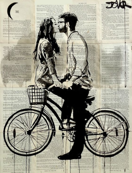 ARTFINDER: TOGETHER by Loui Jover - sumi ink on vintage book pages, adhered together to create one sheet ready for framing as desired.. part of an ongoing series of works featuring couples,love...