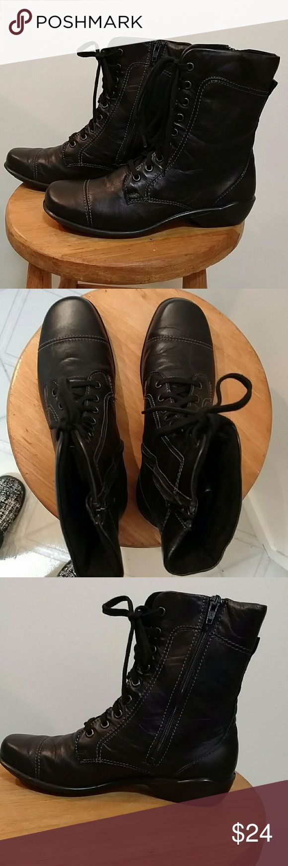 Romika Citylight boots size 38 New in box,  black leather combat boots. Inside zip and lace up front. Romika Shoes Combat & Moto Boots