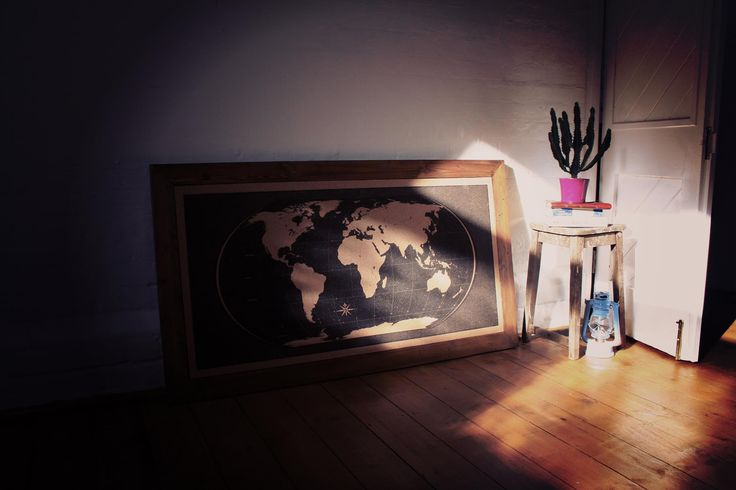 World Map Cork Pinboard. Perfect to pin all the places you've been, the memories you had, the photos you took, to relive the wild adventures you had, and amazing moments you want back.  Meticulously designed & hand printed. Framed with rustic timber. 135cm x 75cm. Just £185 from MobyMaps – www.mobymaps.com