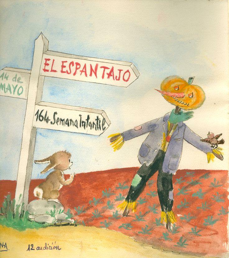 """Cartell il·lustrat per la bibliotecària Natàlia Hernàndez, per informar de l'hora del conte destinada al dia 14 de maig de 1960 en la biblioteca Pare Miquel d'Esplugues. El títol de la narració fou: """"El espantajo""""."""