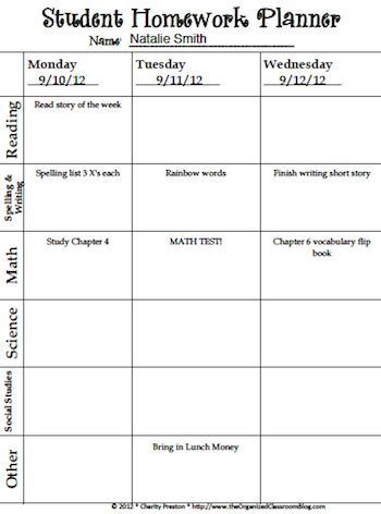 Best 25+ Homework planner ideas on Pinterest Bullet journel - sample student agenda