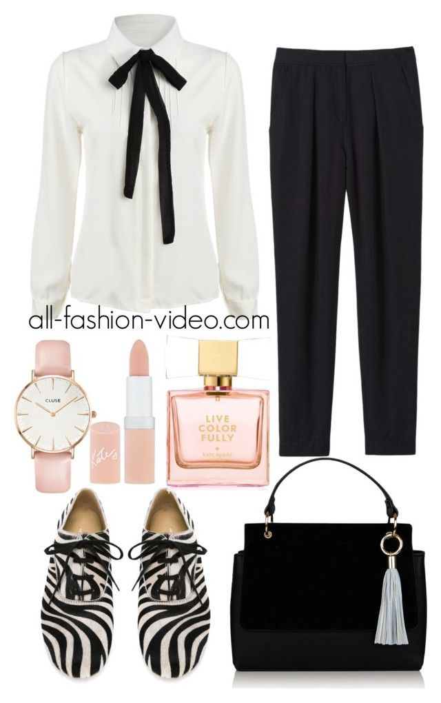 zebra print office outfit by xwtiko on Polyvore featuring Rebecca Taylor, Topshop, CLUSE, Rimmel and Kate Spade