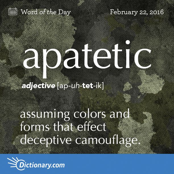 Dictionary.com's Word of the Day - apatetic - Zoology. assuming colors and forms that effect deceptive camouflage.