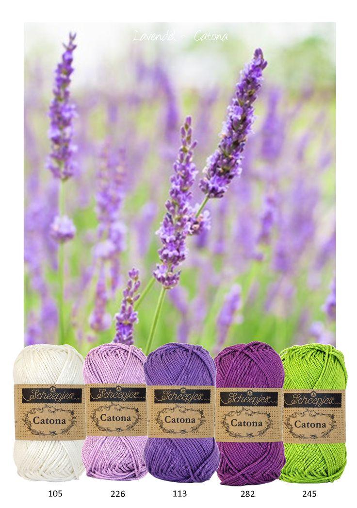 Kleurinspiratie - Lavendel. Catona van Scheepjeswol in paars tinten en groen. Catona is verkrijgbaar in een zeer uitgebreid kleurenscala en is geschikt voor allerlei vrolijke projecten.