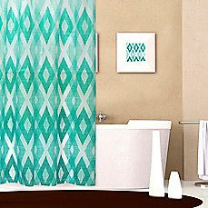 image of Diamond Pattern 72-Inch x 70-Inch PEVA Shower Curtain in Teal