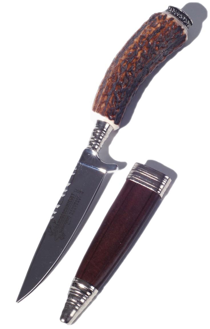 Stockerpoint Trachtenmesser Griff echt Hirschhorn gravourfähige Kappe M215