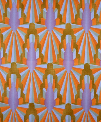 Furnishing fabric, designed by Eddie Squires Archway, screen-printed cotton furnishing fabric, made in 1968 for Warner fabrics