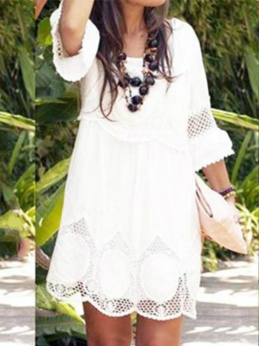 403694da8136 Fashion Hollow Half Sleeve Loose White Lace Dress in 2019