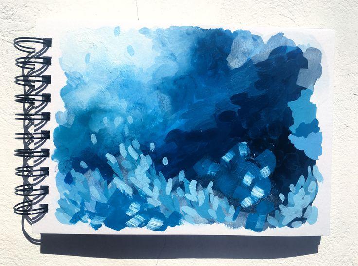 """Liquorice blues"" 🇬🇷  5.9x8.3"", acrylic on spiral bound paper."