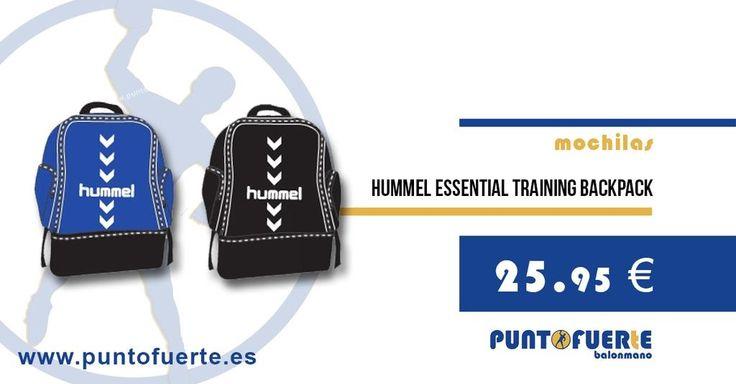 Mochila Hummel Essential Training Backpack. Un producto esencial para acompañarte a cada entrenamiento y a cada partido. Incluye bolsillo inferior con zapatillero. Disponible en azul y negro #mochilas #deporte #Hummel #balonmano