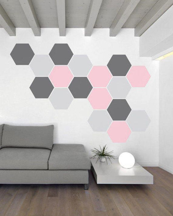 Honeycomb hexagon pattern – for kids room, nursery, office, living room- decorative vinyl wall art graphic removable decal or sticker -034