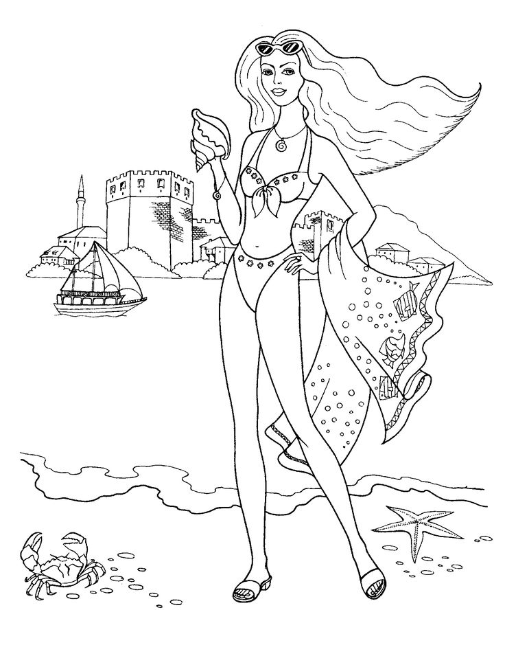 Fashionable girls coloring pages 11