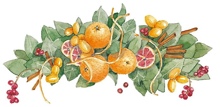 Autumnal Oranges by Susan Branch (http://www.susanbranch.com/2012/11/blessings-be-an-elf-on-thanksgiving-christmas-decorating-and-small-business-saturday/oranges/)
