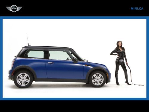 Screen shot from the MINI bondage commercial campaign