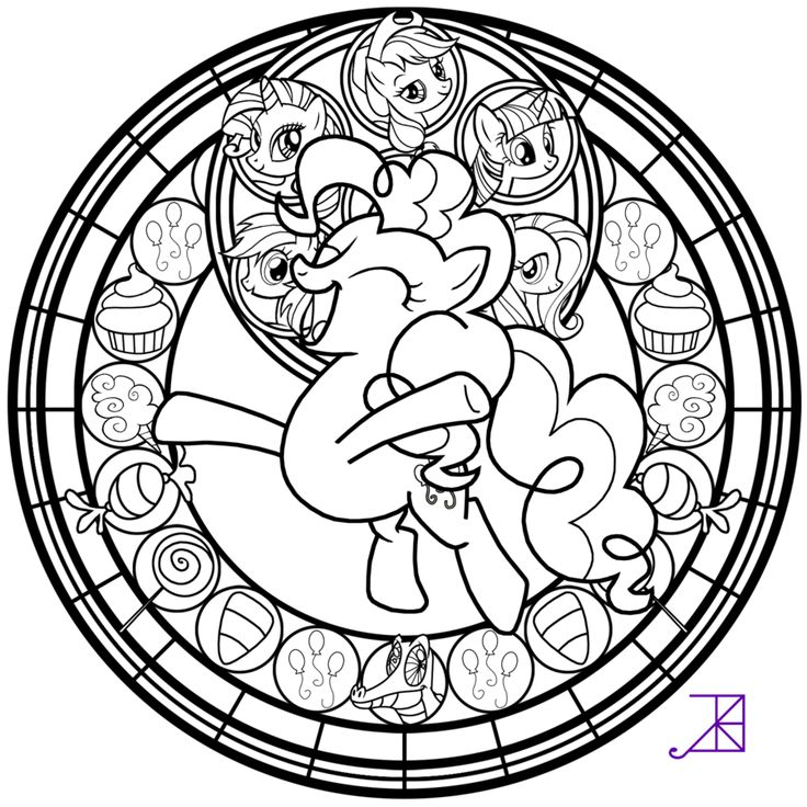 Ill Be Posting The Remaining Pony Line Arts Within Next Few Hours Heres Pinkie Pies Feel Free To Color Just Leave Stained Glass Pie