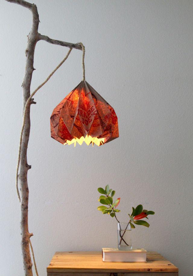 Tutorial lampara origami con bolsa de compras