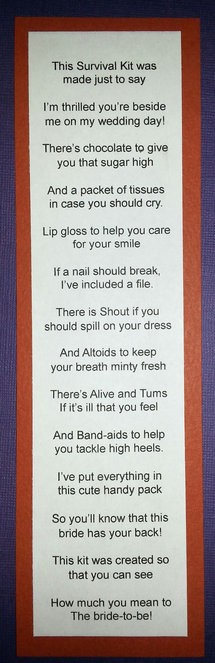 Cute Saying for Bridal Party Survival Kits