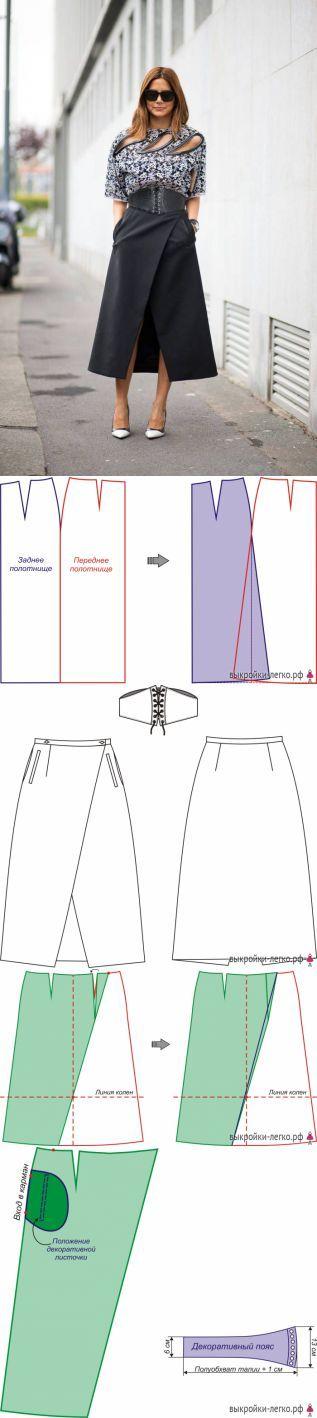 Выкройка юбки с запахом   Выкройки онлайн и уроки моделирования