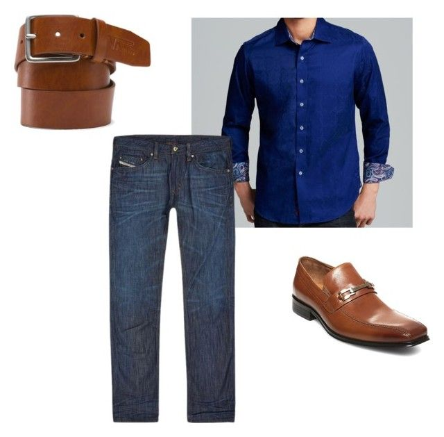 Mens Robert Graham Nightclub Outfit by mrsfuri on Polyvore featuring Robert Graham, Diesel, Vans and Steve Madden