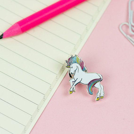 Rainbow Unicorn Pin // Prancing Unicorn enamel pin, hard enamel pin badge…