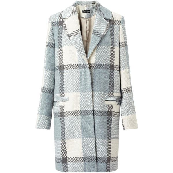 Miss Selfridge Check Slouchy Coat, Pale Blue (77 AUD) ❤ liked on Polyvore featuring outerwear, coats, miss selfridge coats, checked coat, leather-sleeve coats, slouch coat and pattern coat