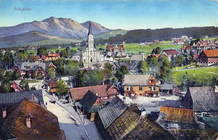 Zakopane, widok ogólny. Pocztówka z 1916 r.