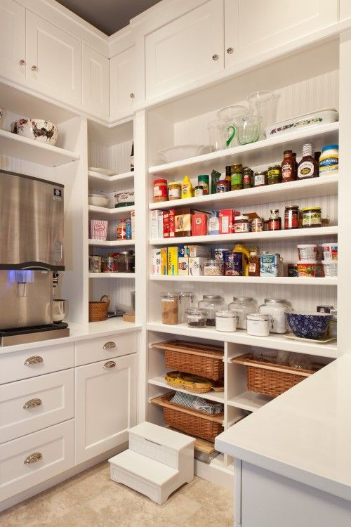 Another pantry idea. Baskets underneath on sliders. Good idea for onions/potatoes?