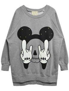 Grey Long Sleeve Rivet Mickey Print Sweatshirt EUR€22.92 ps: large ou medium