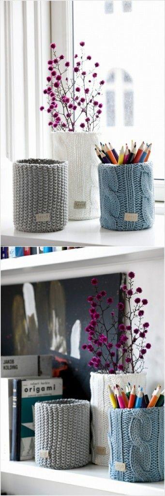 Strickwaren für die Dekoration geben Ihrem Zuhause ländliche Wärme