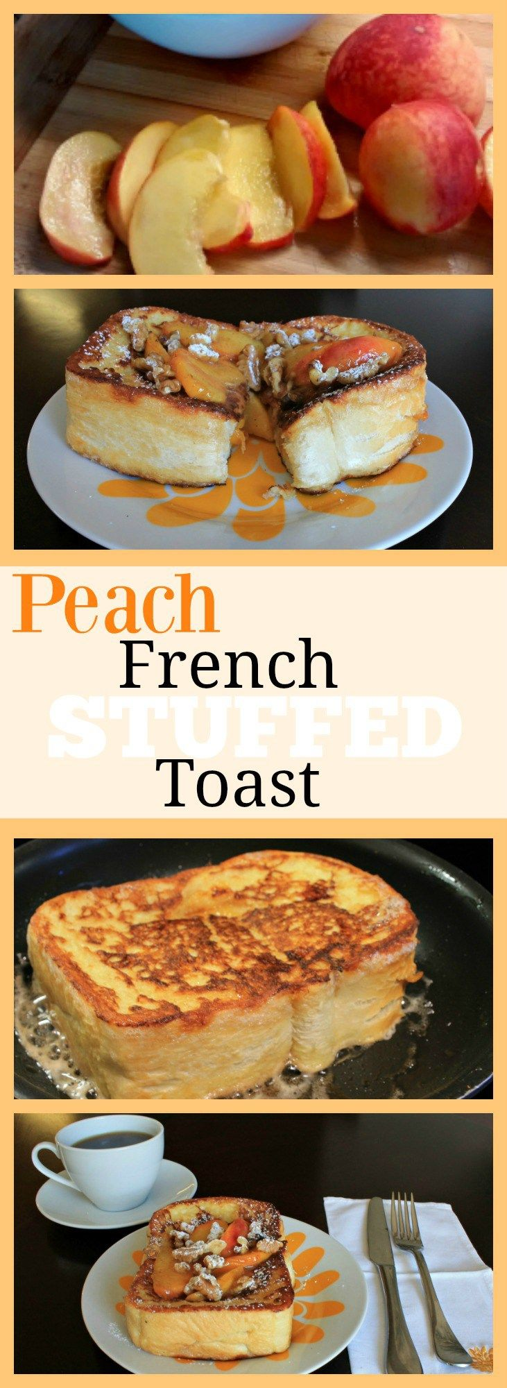 Peach Stuffed French Toast - The perfect start to your morning! Using fresh peaches and toasted walnuts this french toast is to die for! Find the full recipe here: www.theoliveblogger.com/2016/08/12/peach-stuffed-french-toast-recipe-foodie-friday/