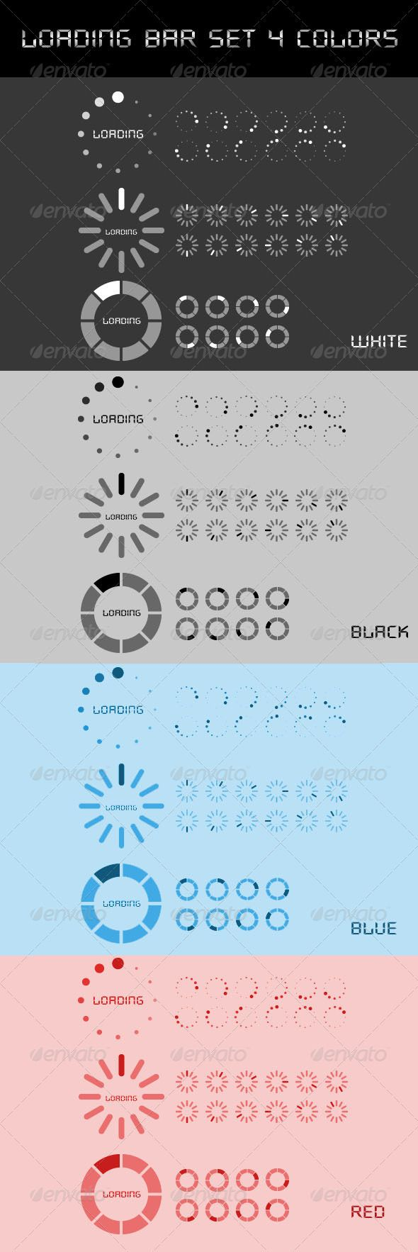 Loading Bar Set 3 Styles and 4 Colors  #GraphicRiver         3 different loading bar styles available in 4 colors. White, Black, Blue, Red. File contains 4 PSD Files.