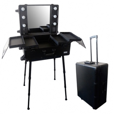 Valise studio make up trolley table de maquillage ampoules noire miroir - Table up and down pas cher ...