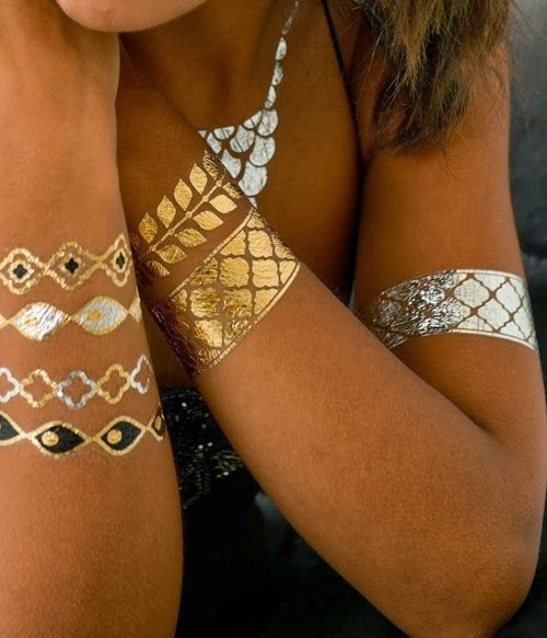 Gold & Silver temporary metal tattoo