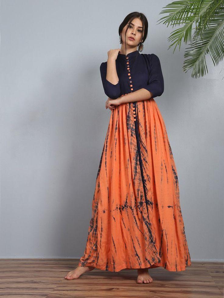 Orange Navy Blue Silk Rayon Gendha Slit Tunic